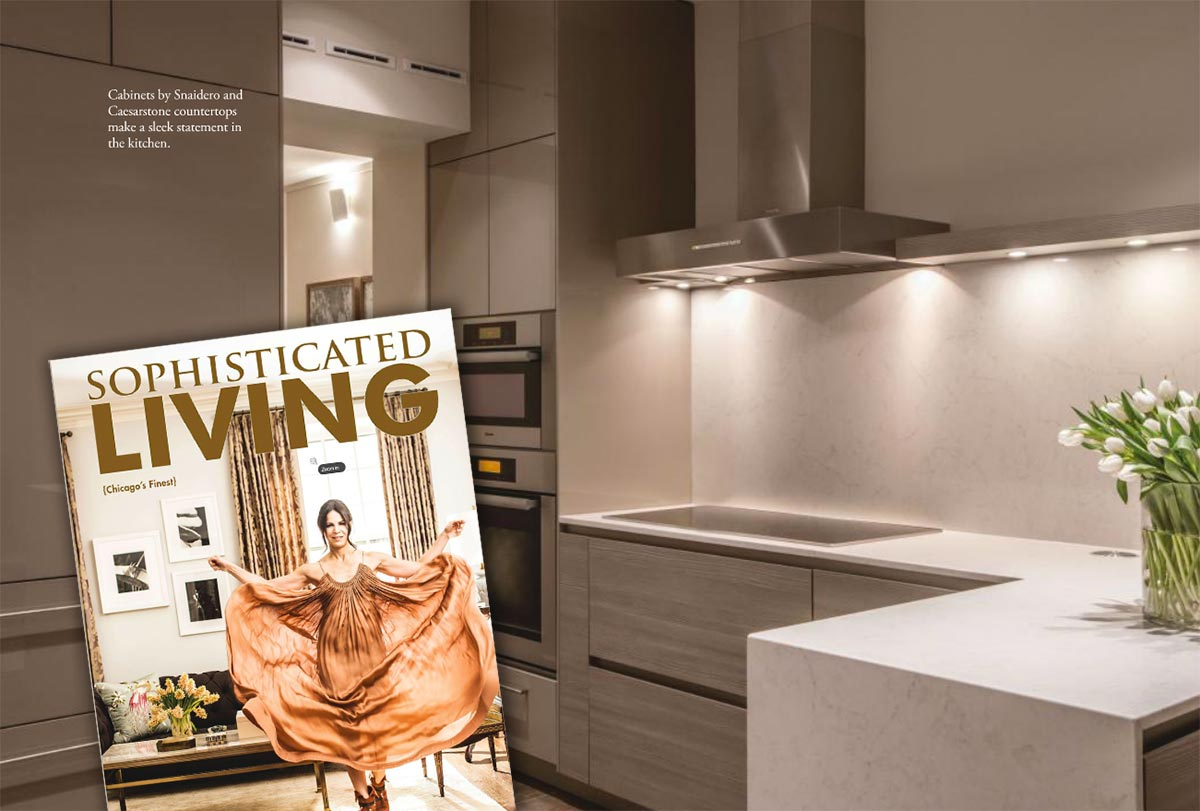 Snaidero Chicago kitchen, butler pantry and bath cabinetry and vanity featured in Sophisticated Living Magazine